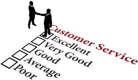 Business relationship excellent customer service. Business people handshake agreement to provide excellent customer service vector illustration