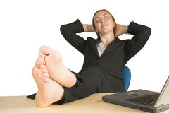 Business relaxation - feet up Royalty Free Stock Image