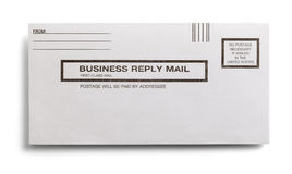 Business Reply Mail. Postage Paid Business Reply Letter Isolated on a White Background Royalty Free Stock Photos
