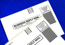 Business reply mails isolated on blue Stock Photography