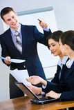 Business report. Image of successful man giving a report at business briefing royalty free stock images
