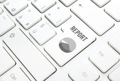 Business report concept. Area chart key on white keyboard Royalty Free Stock Image