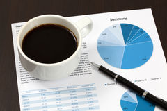 Business report. Cup of coffee on document Royalty Free Stock Photos