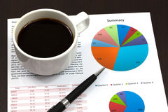 Business report. Cup of coffee on document Royalty Free Stock Images