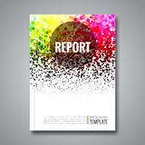 Business report design background with colorful dots, simulating watercolor.. Dotwork Brochure Cover Magazine template, vector illustration Royalty Free Stock Photos