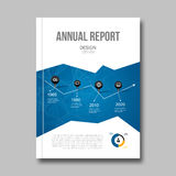 Business report design background with graphics. Cover Magazine geometric shapes info-graphic, vector illustration Royalty Free Stock Photo