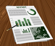Business report on the desk with a pen Stock Photography