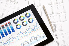 Business Report on Digital Tablet Stock Photos