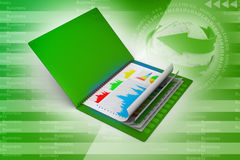 Business report in file. In attractive colour background Royalty Free Stock Photo