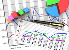 Business report. Financial business chart and economic development Royalty Free Stock Images