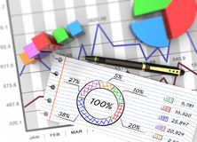 Business report. Financial business chart and economic development Stock Photos