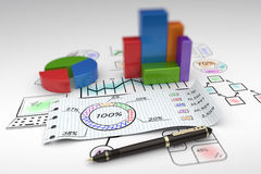 Business report. Financial business chart and economic development Stock Images