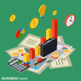 Business report, financial statistic, management. Analytics isometric vector concept Royalty Free Stock Photo