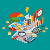 Business report, financial statistic, management, analytics vector concept Stock Image