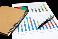 Business report  graph with pen and notebook Royalty Free Stock Images