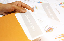 Business Report , Graphs and Charts Colored Stock Photo
