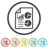 Business Report icon, business graph and documents. Simple vector icons set Stock Photo