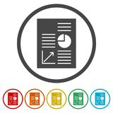 Business Report icon, business graph and documents. Simple vector icons set Royalty Free Stock Image