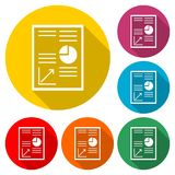Business Report icon, business graph and documents, color icon with long shadow. Simple vector icons set Stock Images