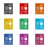Business Report icon, business graph and documents, color icons set. Simple vector icon Stock Photography