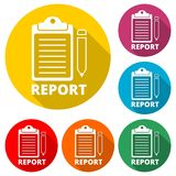 Business Report icon, color icon with long shadow. Simple vector icons set Royalty Free Stock Image