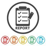 Business Report icon, 6 Colors Included. Simple vector icons set Stock Photo
