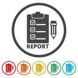 Business Report icon, 6 Colors Included. Simple vector icons set Stock Image