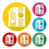 Business report icons set with long shadow. Icon Stock Photography