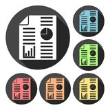 Business report icons set with long shadow Royalty Free Stock Image