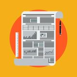 Business report illustration. The business report flat vector illustration Stock Photography