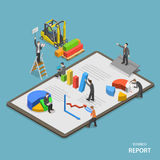 Business report isometric flat vector concept. Royalty Free Stock Image