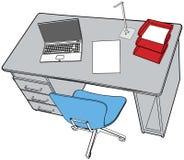 Business report laptop on office desk scene stock illustration