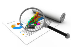 Business report with magnifying glass Stock Images