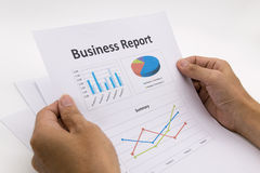Business report and man hand. Royalty Free Stock Photo