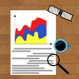 Business report marketing result. Economic graph vector workplace, chart economy file illustration Royalty Free Stock Photography