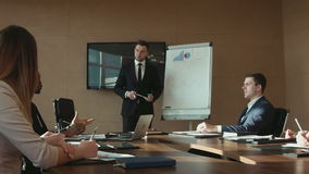 Business report at the meeting. stock footage