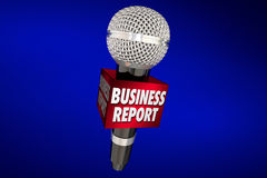 Business Report News Financial Update Microphone. Business Report News Sales Financial Update Microphone 3d Illustration Royalty Free Stock Photo