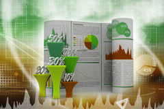 Business report with percentage graph Stock Photo