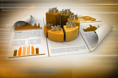 Business report and pie chart Royalty Free Stock Photos
