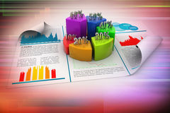 Business report and pie chart Stock Image
