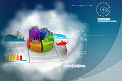 Business report and pie chart with growth percentage. In attractive background Royalty Free Stock Images