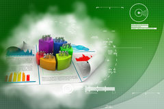 Business report and pie chart with growth percentage. In attractive background Royalty Free Stock Photos