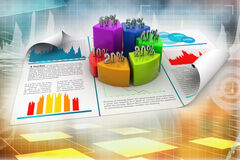 Business report and pie chart with growth percentage. On color background Royalty Free Stock Photos