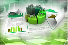 Business report and pie chart with growth percentage. On color background Stock Images