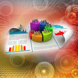 Business report and pie chart with growth percentage. In color background Royalty Free Stock Photo