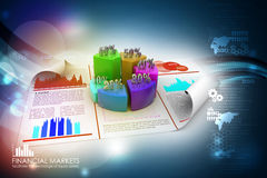 Business report and pie chart with growth percentage. In color background Royalty Free Stock Images