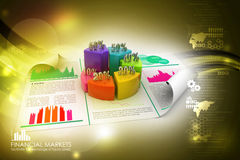 Business report and pie chart with growth percentage. In color background Stock Photography