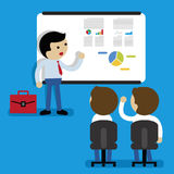 Business report presentation. Meeting businessman pointing presentation vector Royalty Free Stock Image