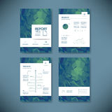 Business report template with low poly background. Project management brochure document layout for company presentations Royalty Free Stock Photography