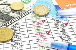 Business reporting. And cash on the table Royalty Free Stock Image